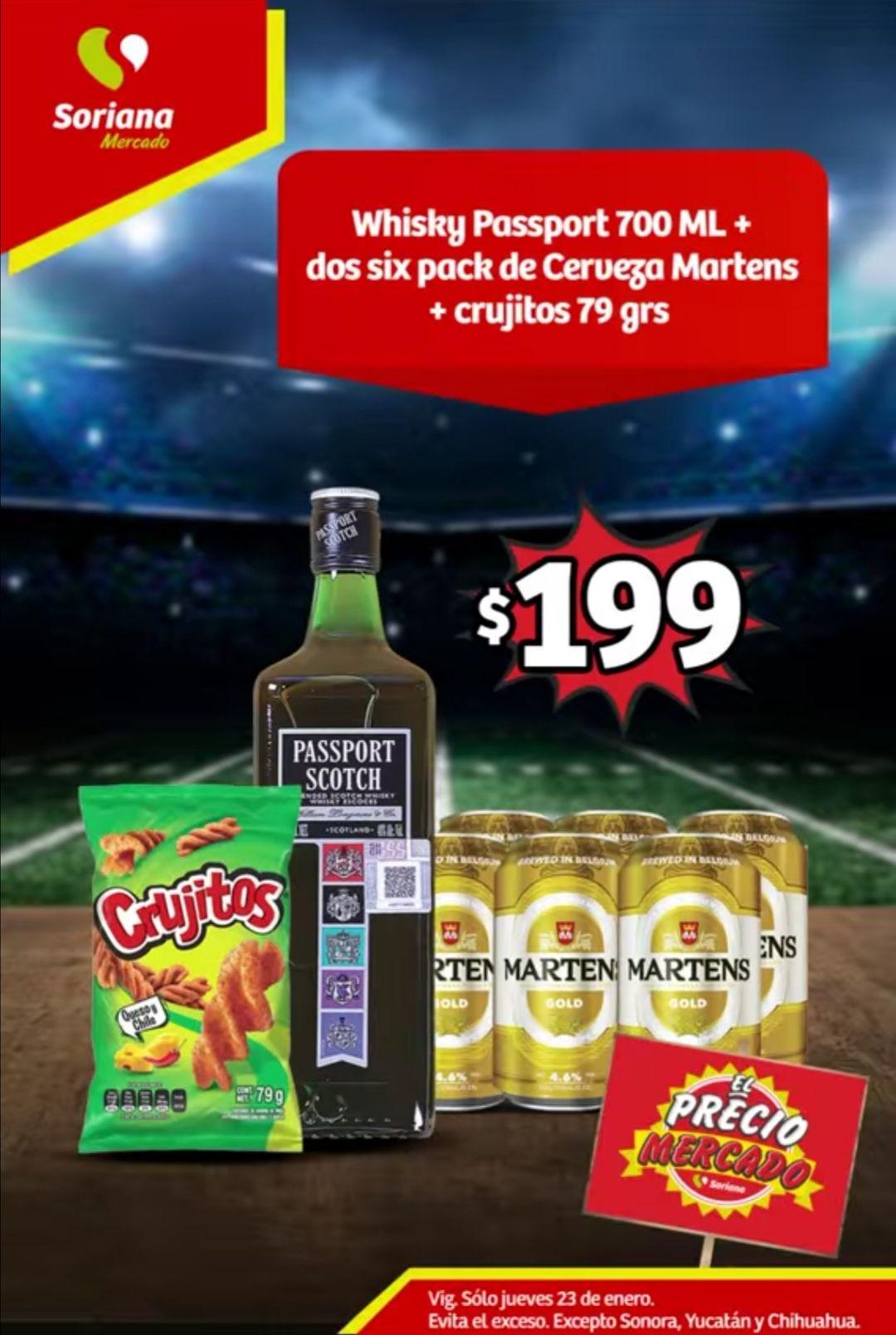 Soriana Mercado y Express: Jueves Cervecero 23 Enero: Whisky Passport 700 ml + 2 Six Pack Cerveza Martens + Crujitos 79 grs. $199