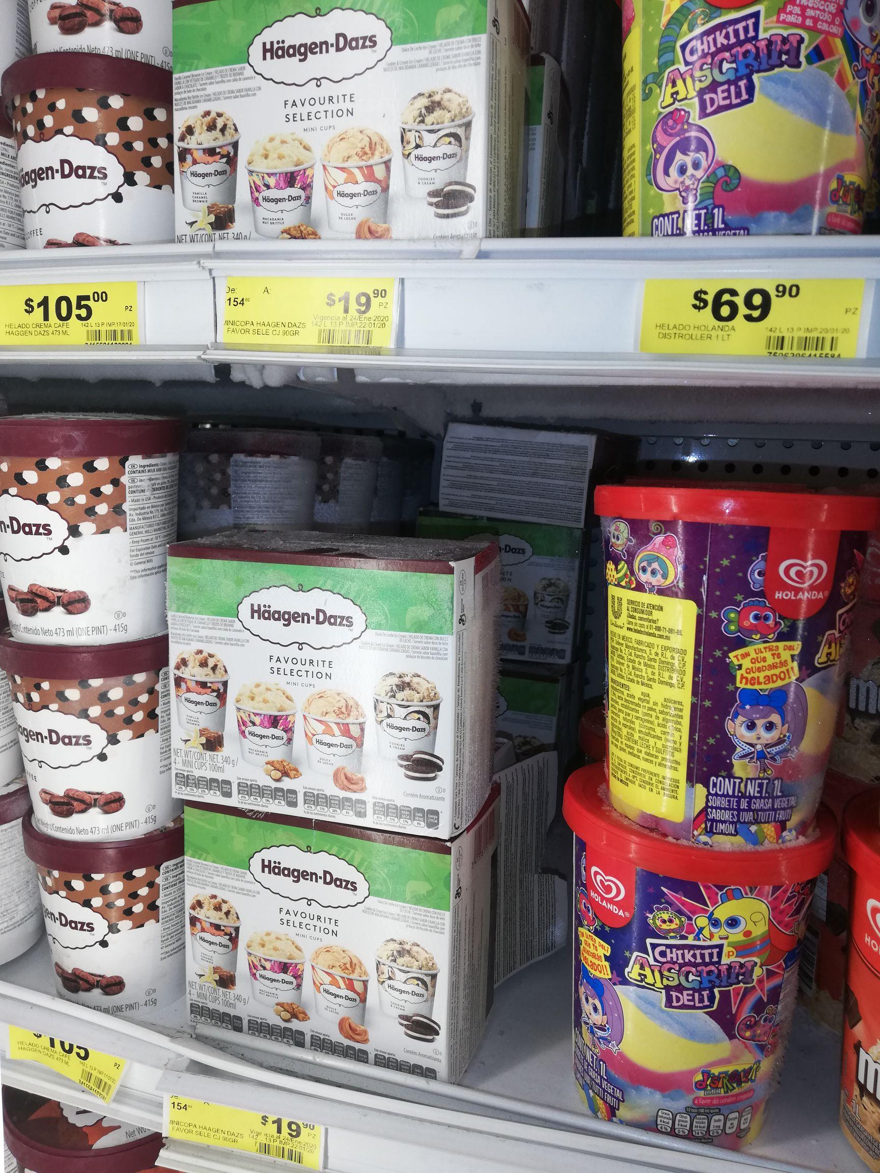 Soriana helado mini copa haagens dazs de 154 a 19.90