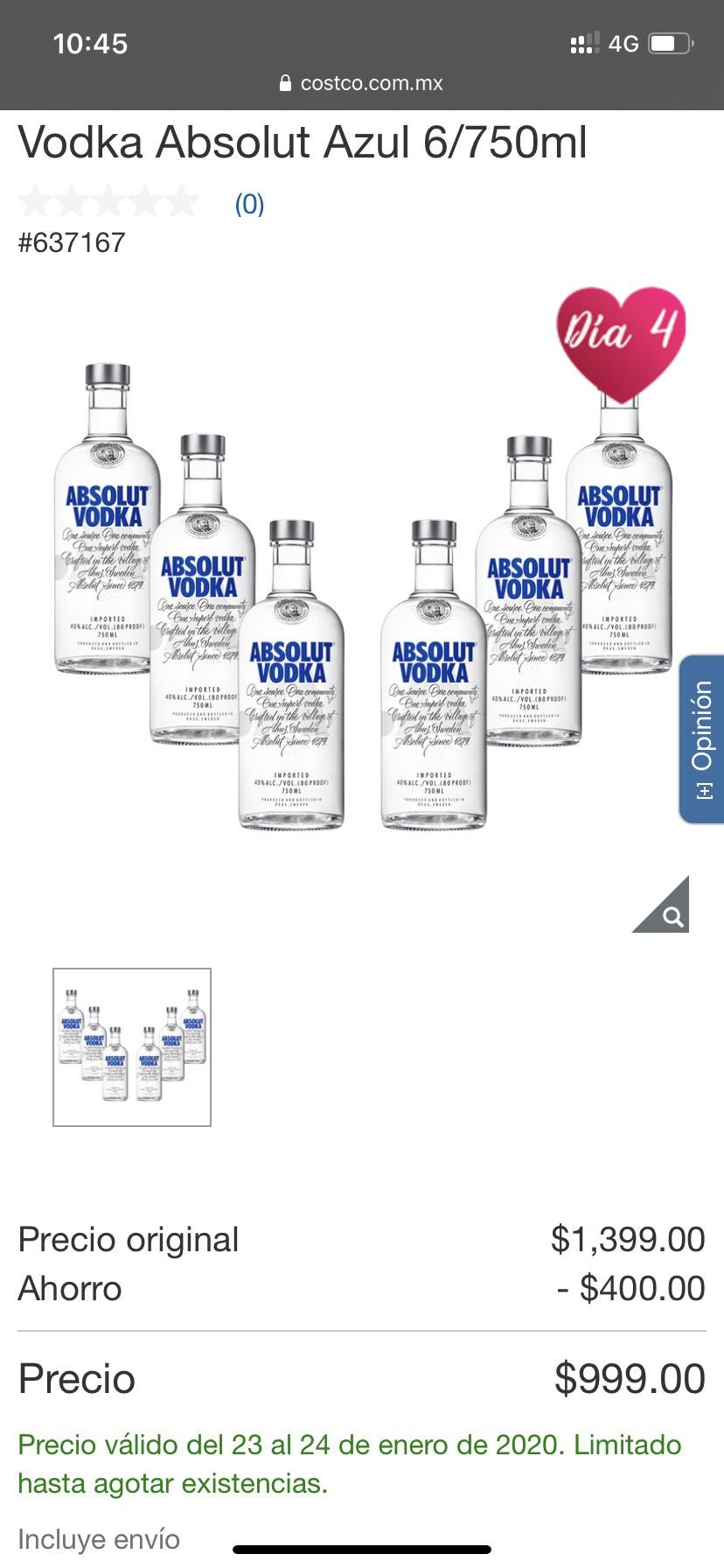 Costco: Vodka Absolut Azul 6/750ml