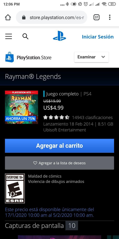PSN: Rayman Legends PS4 $4.99 DLS ($94 MXN)