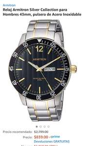 Amazon: Reloj Armitron Silver Collection para Hombres 43mm, pulsera de Acero Inoxidable