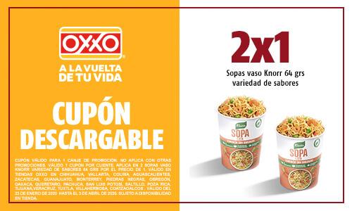 Oxxo Cupón 2 x 1 Sopa de vaso Knorr 64 gr.