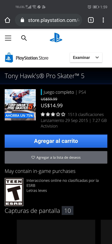 PSN: Tony Hawk's pro skater 5 PS4
