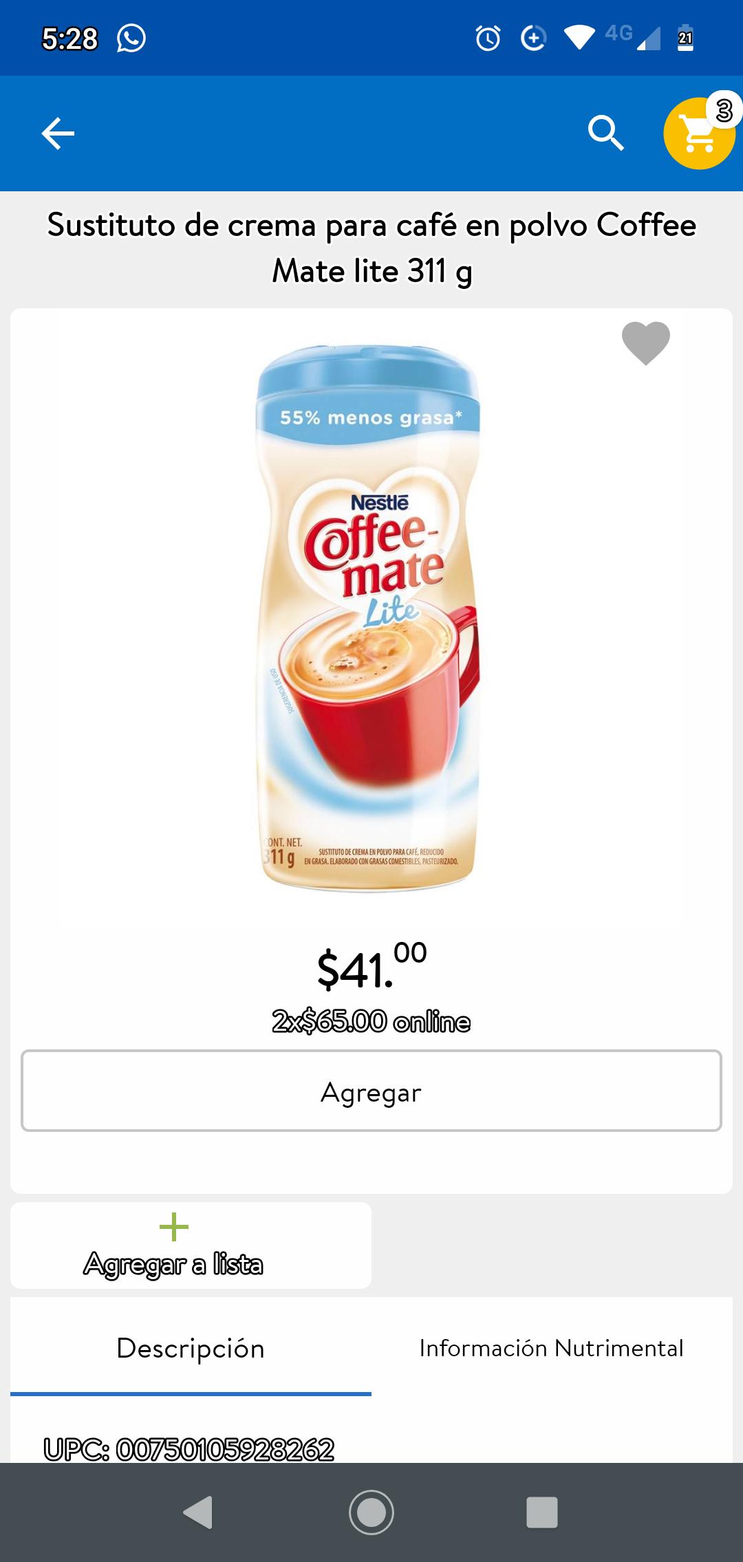 Walmart: Sustituto de crema para café en polvo Coffee Mate lite 311g