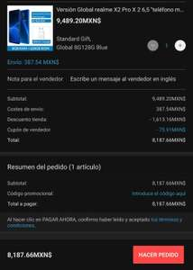 Aliexpress: Realme X2 Pro Versión global (8+128 gb)