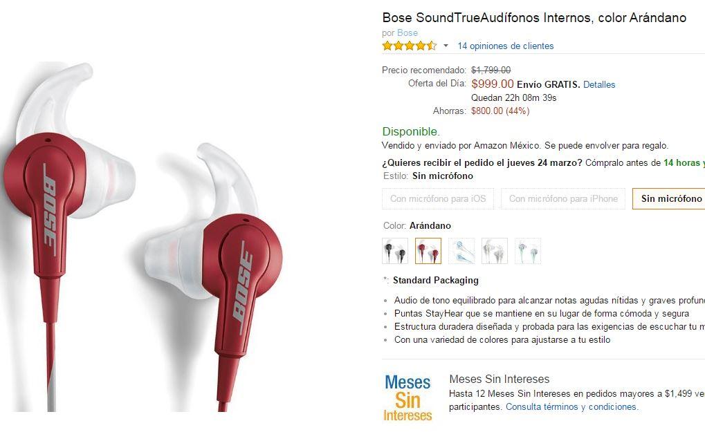 Amazon Mexico: Auriculares Bose Soundtrue ARANDANO de nuevo en oferton $999
