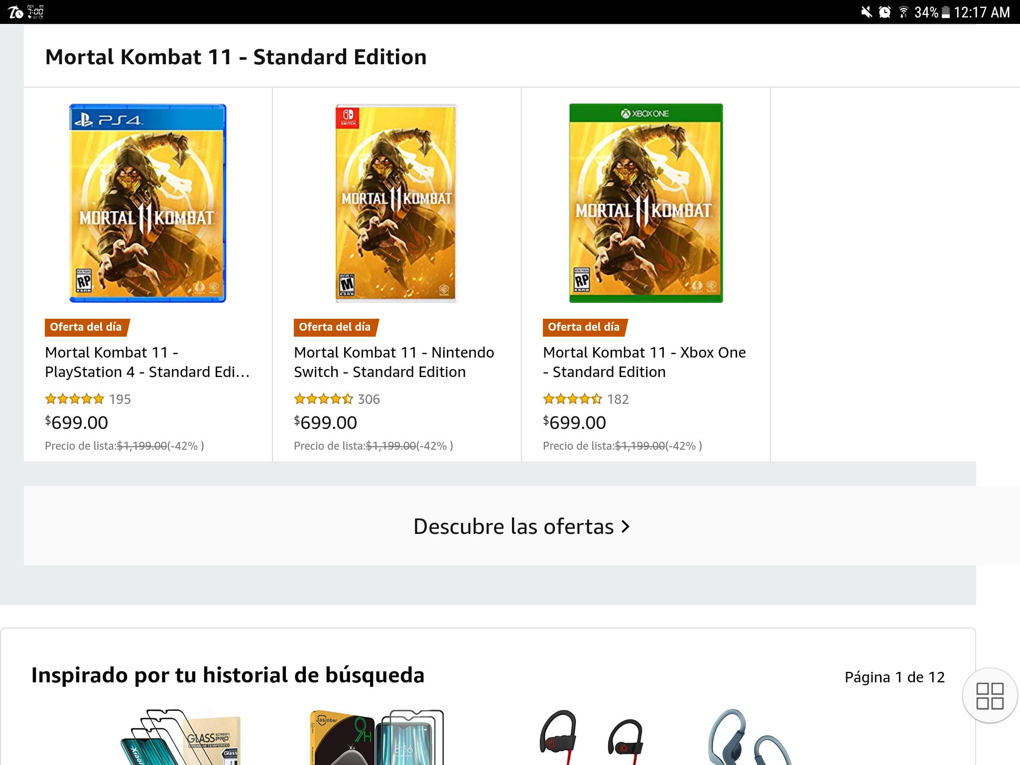 Amazon: Mortal Kombat (PS4, XBOX y Switch)