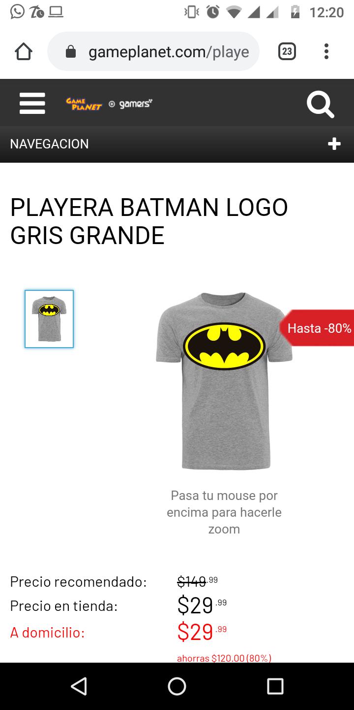 Game Planet Playera Batman tallas grande
