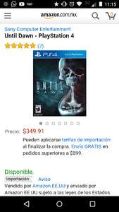 Amazon: Until Dawn para Playstation 4 a $349.91