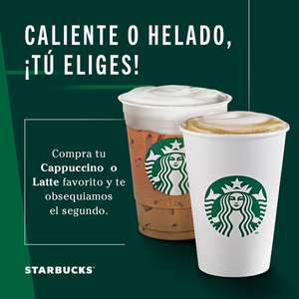 Starbucks: 2x1 en cappuccino o latte