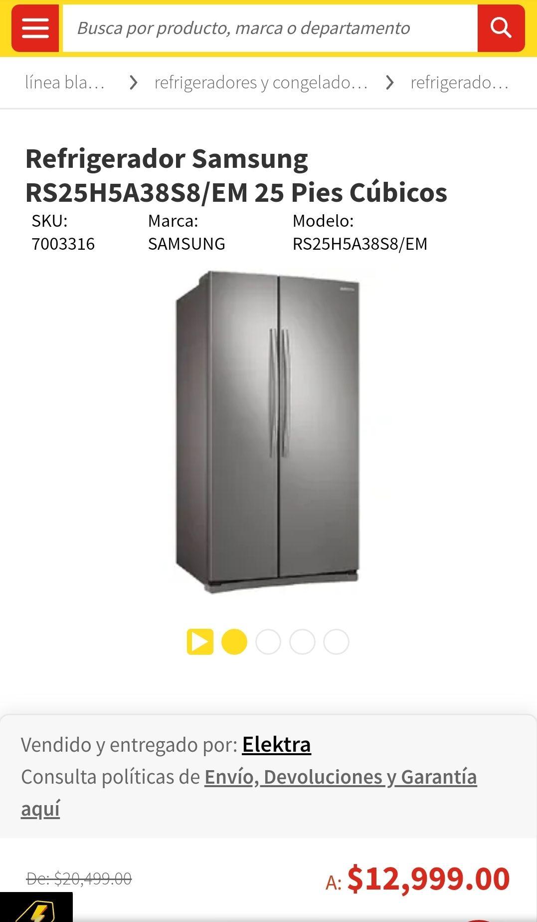 Elektra: Refrigerador Samsung RS25H5A38S8/EM 25 Pies Cúbicos Silver