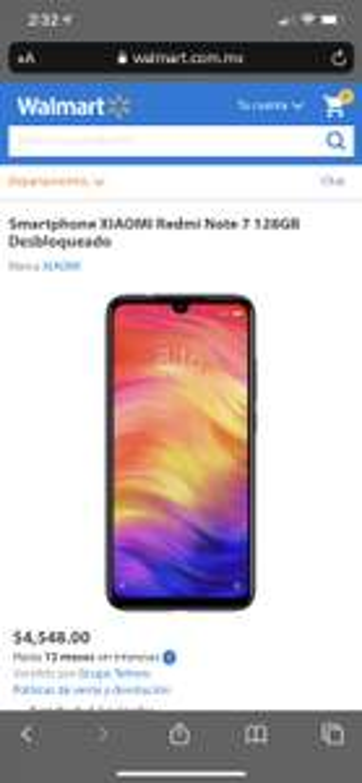Walmart Xiaomi redmi note 8 128/4