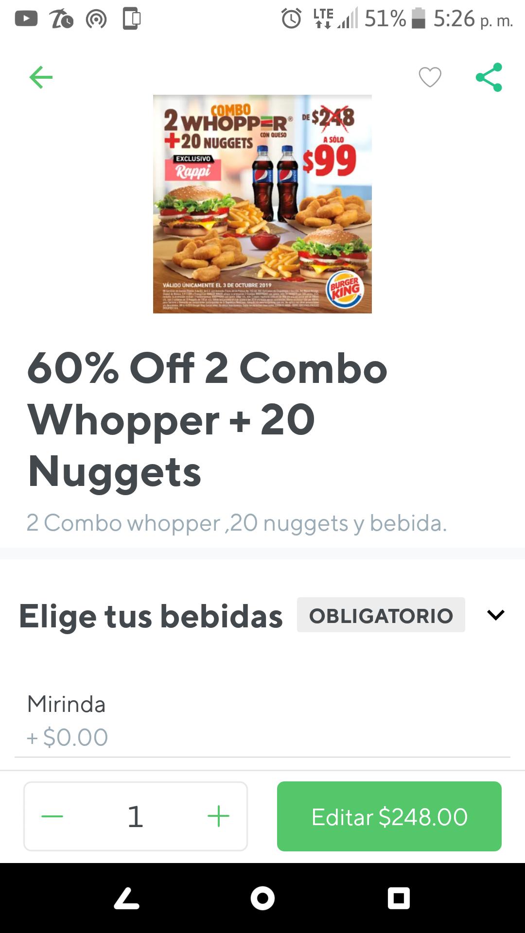 Rappi Burger King combo de 248 a 99
