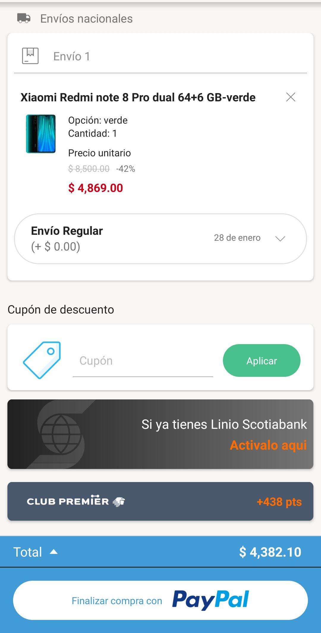 Linio: Redmi Note 8 Pro 64G con Paypal envío nacional