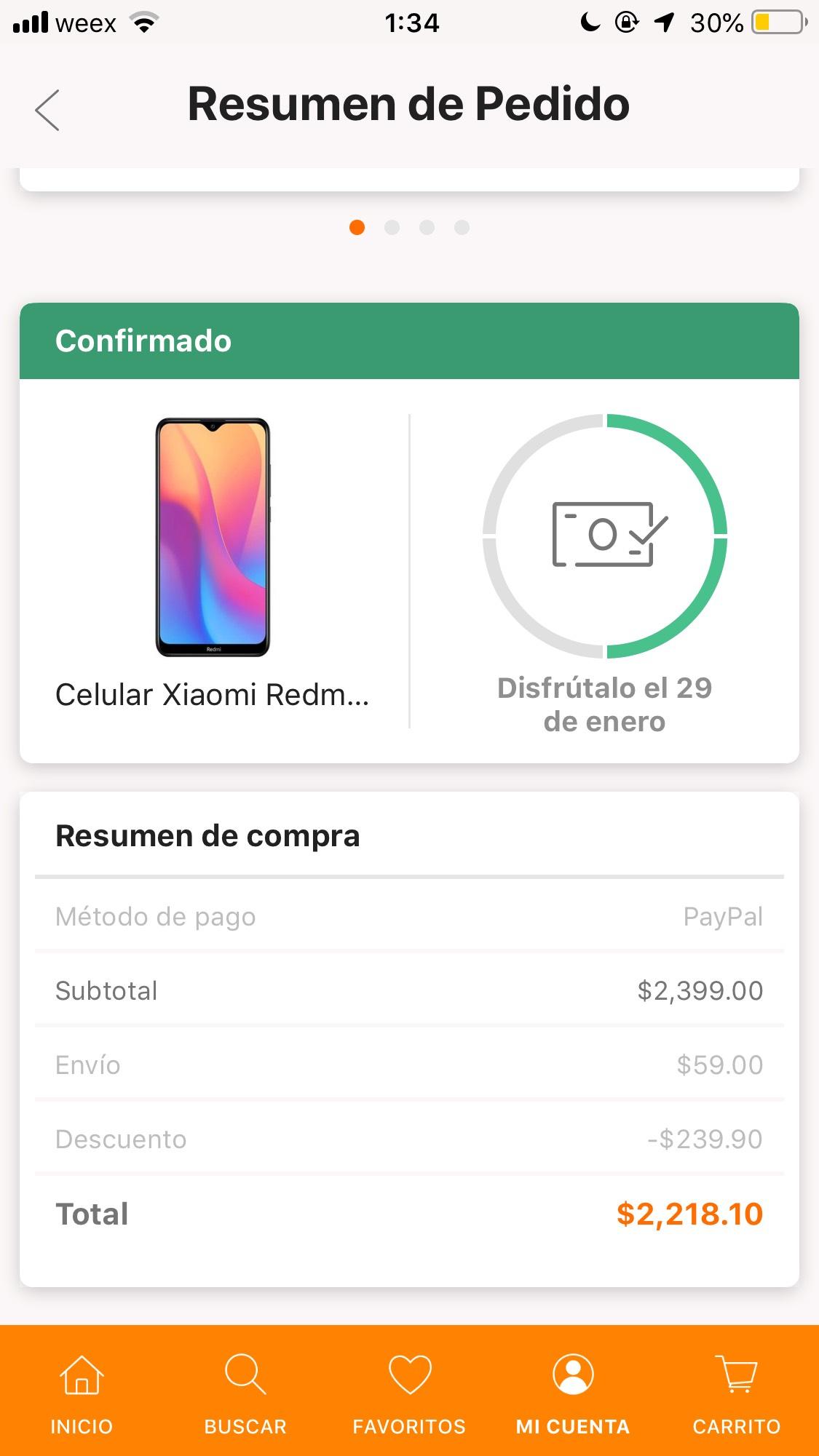 Linio App: Xiaomi Redmi 8A $2,220 (pagando con Paypal)