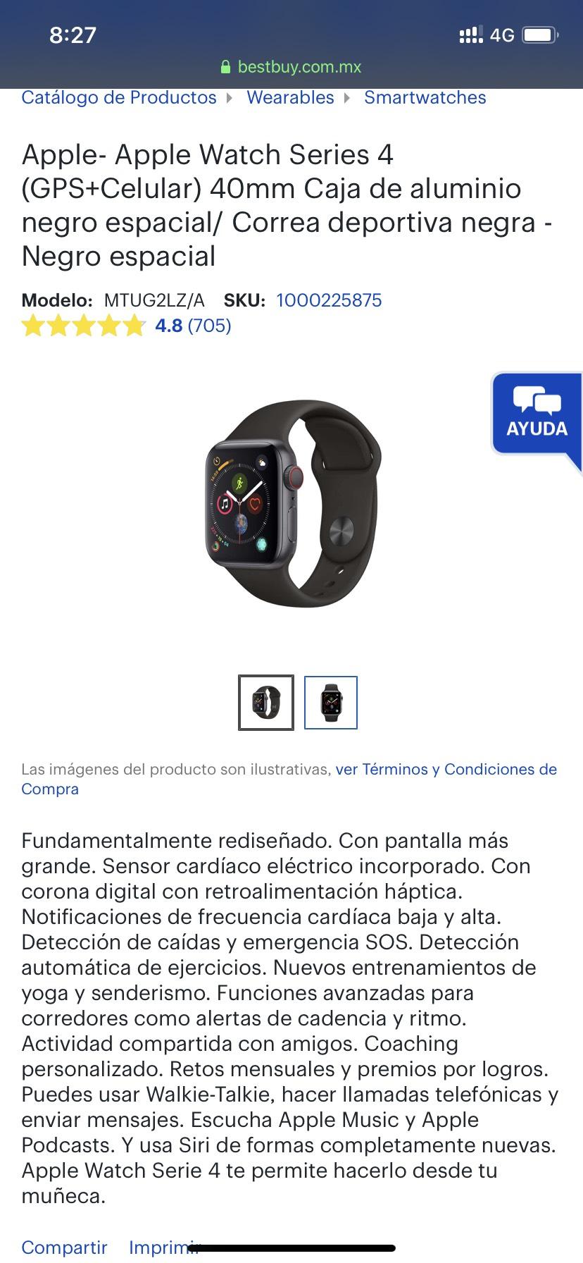 Best Buy: Apple Watch Series 4 de 40 mm + LTE