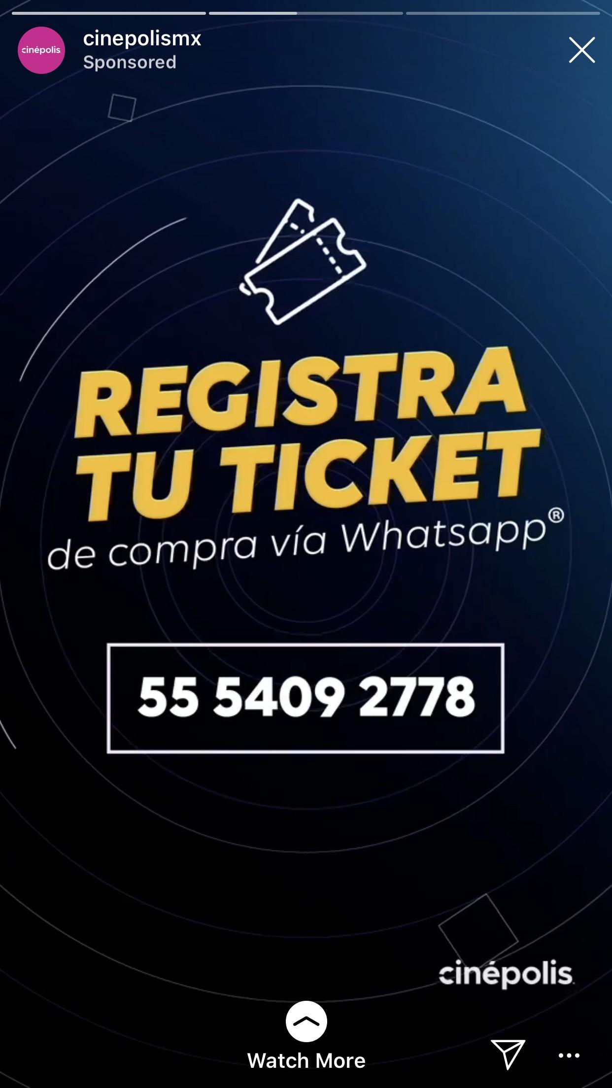 Cinépolis Registra tu ticket de compra para ganar vía WhatsApp
