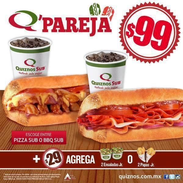 Quiznos: dos quiznos y refresco por $99 pesos