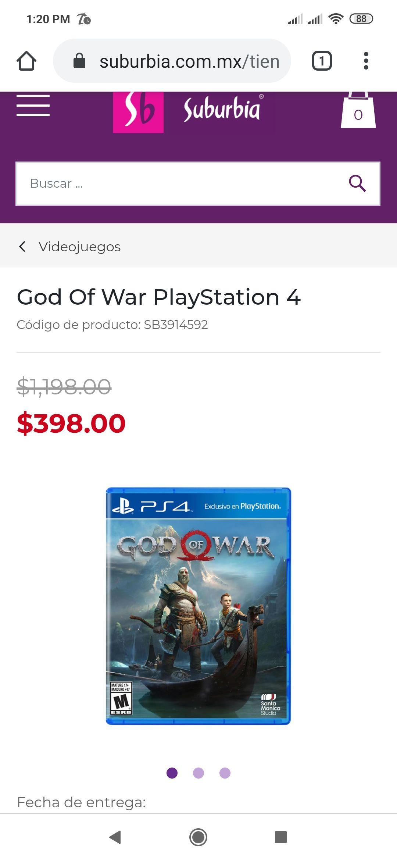 suburbia God of War 4 PS4 (físico)