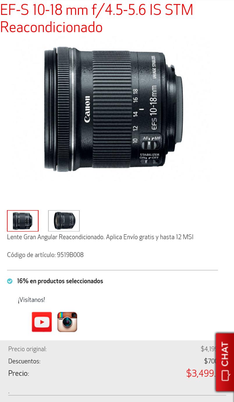 Tienda Canon EF-S 10-18 reacondicionado
