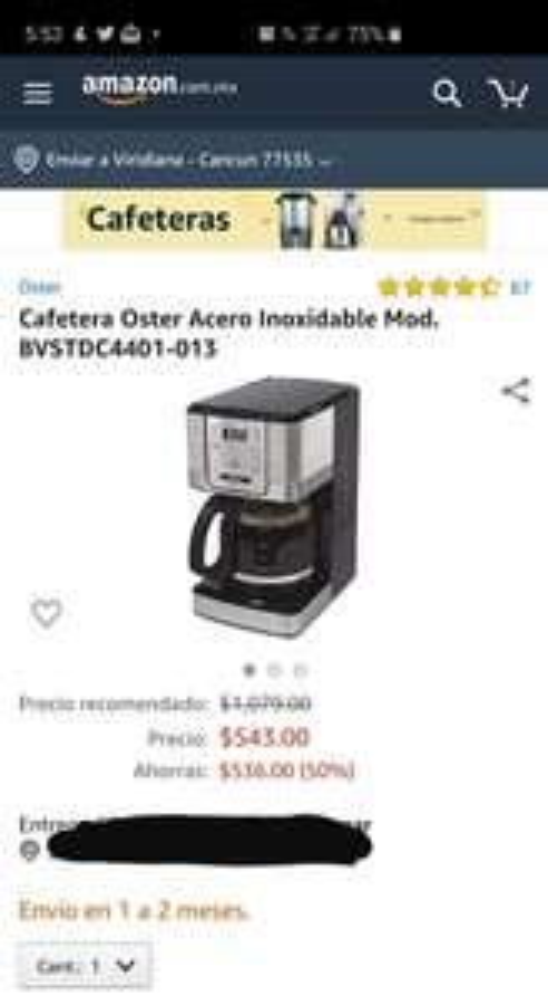 Amazon: Cafetera Oster 12 tazas