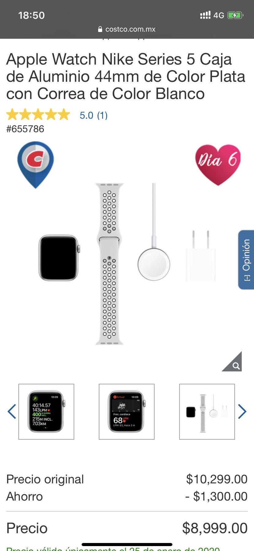 Costco: Apple Watch Nike Series 5 Caja de Aluminio 44mm de Color Plata con Correa de Color Blanco