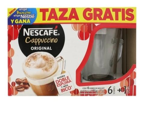 Walmart en linea: 6 sobres de Nescafé capuchino más taza