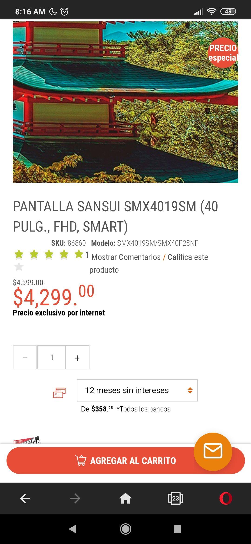 Radioshack: PANTALLA SANSUI SMX4019SM (40 PULG., FHD, SMART)