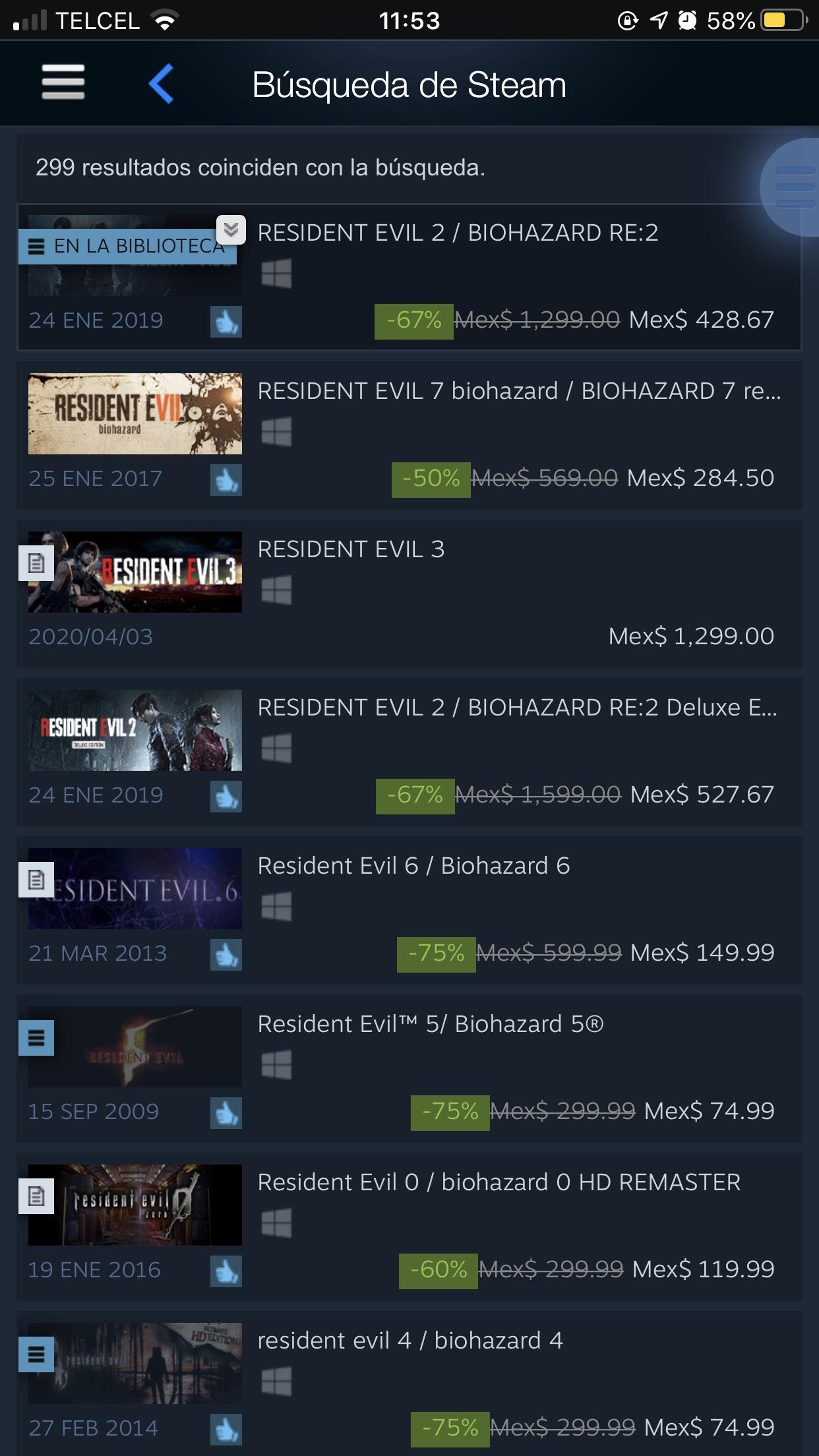 Steam: Juegos de Franquicia Resident Evil con hasta 87% de descuento.