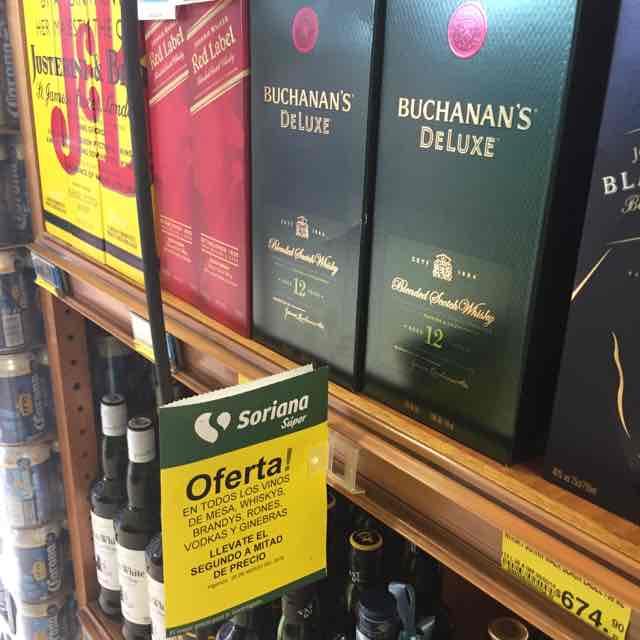 Soriana: vinos de mesa, whisky, brandy, ron, vodka y ginebra al 2 por 1.5