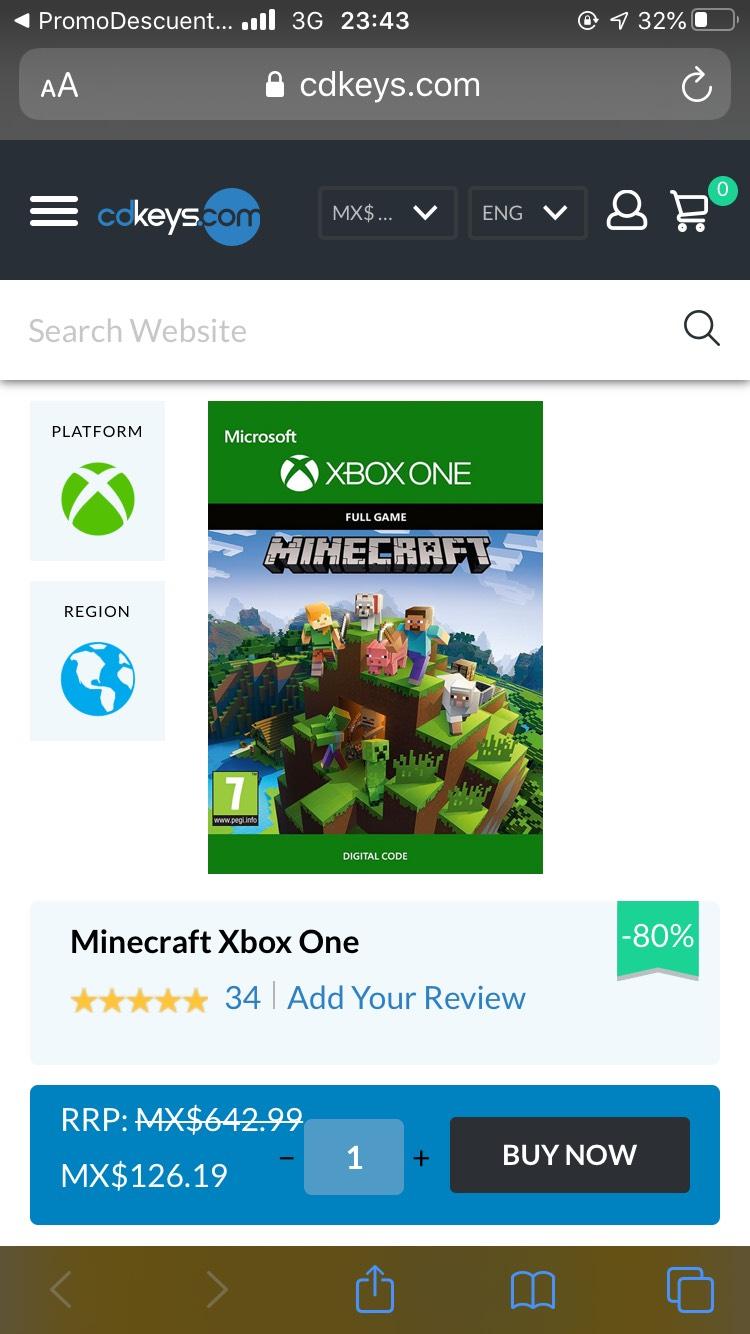 Cdkeys: Minecraft para Xbox one