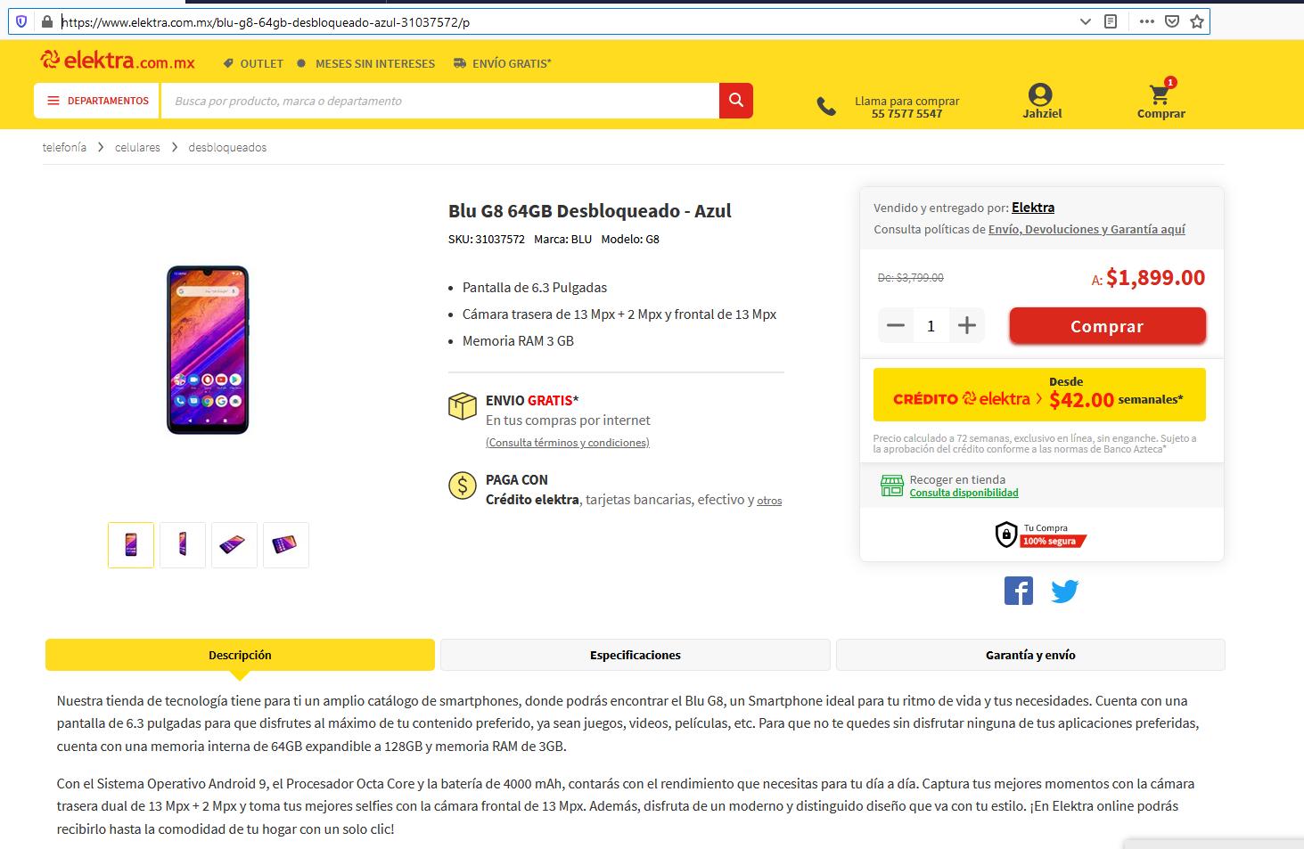 Elektra: Telefono Blu G8 64GB Desbloqueado