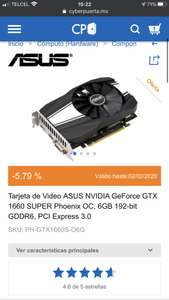 Cyberpuerta: Tarjeta de Video ASUS NVIDIA GeForce GTX 1660 SUPER Phoenix OC, 6GB 192-bit GDDR6, PCI Express 3.0