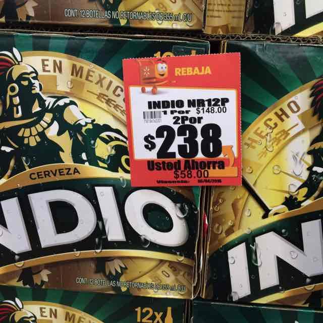 Walmart Puebla 15 de Mayo: 2 Pack de Indio de 12 por $238 y más