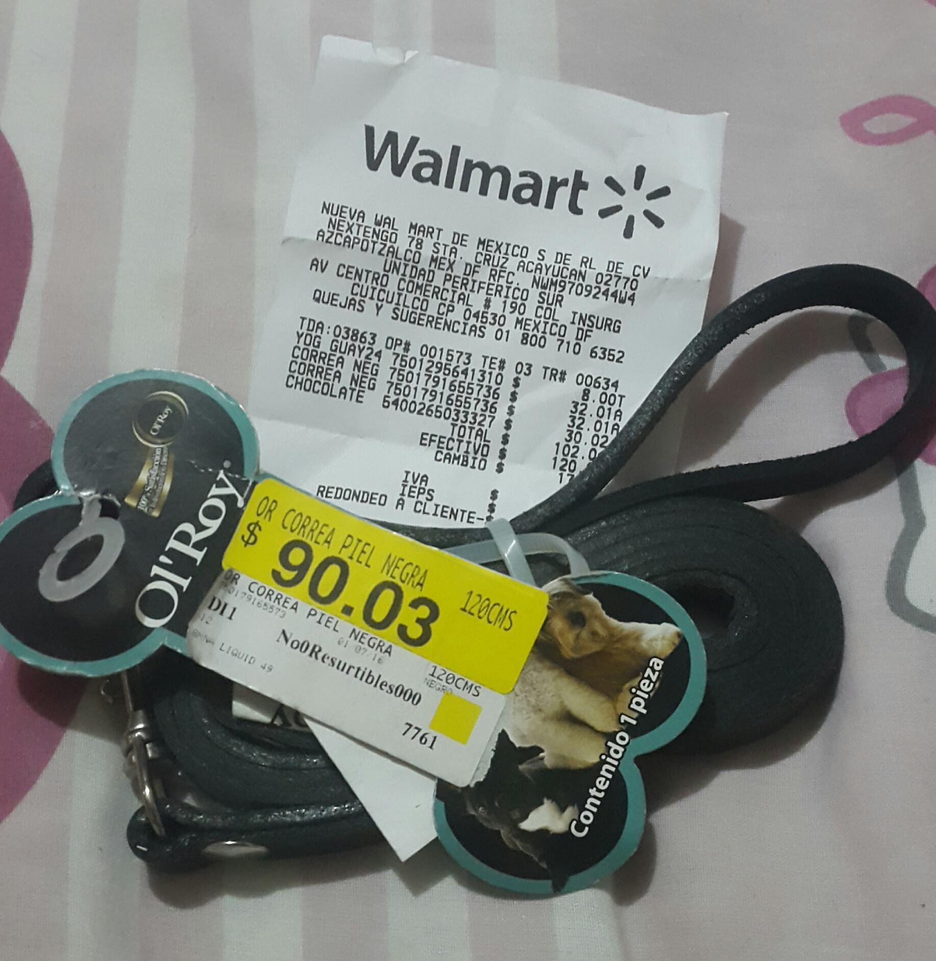 Walmart: Correa y collar mascota cuero $32.01