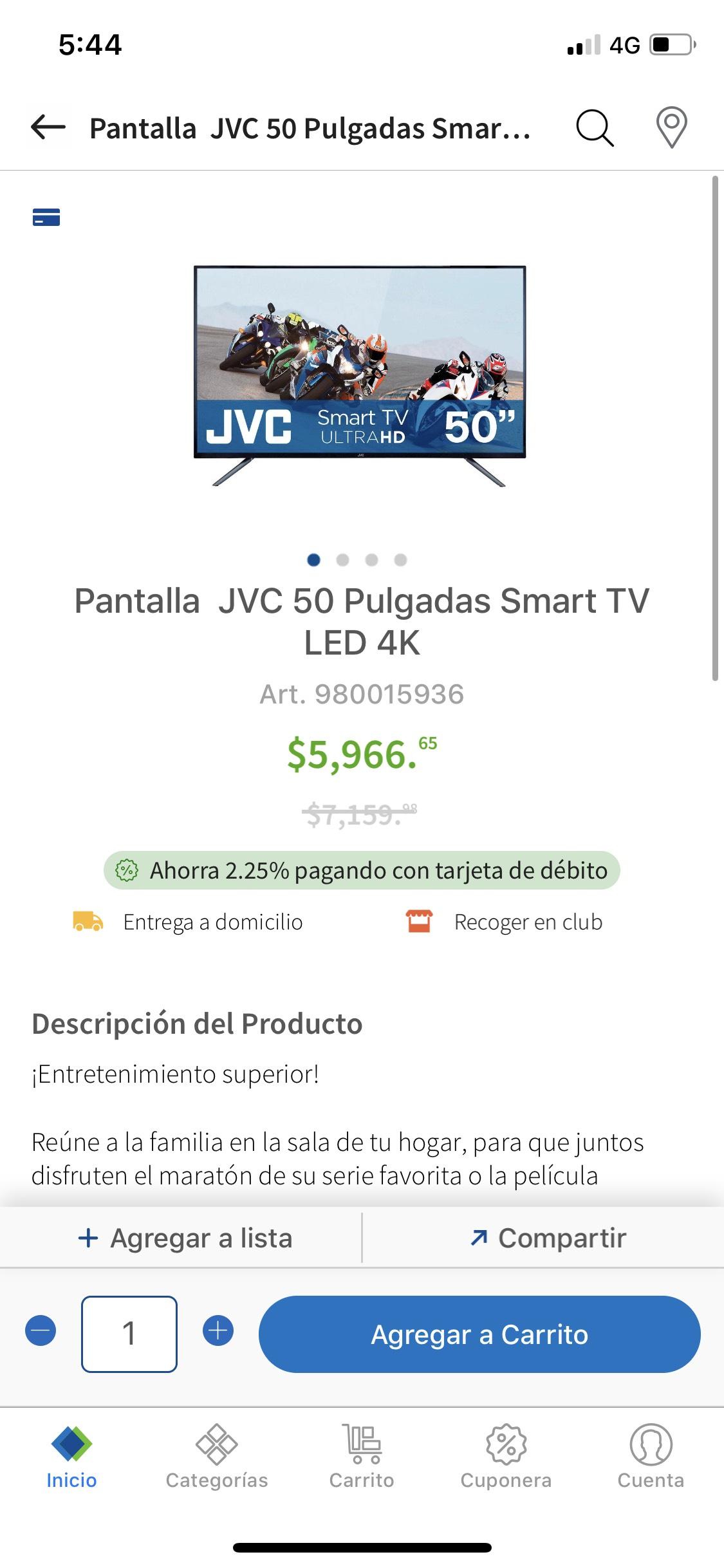 "Sam's Club: Jvc Smart tv 50"" 4k"