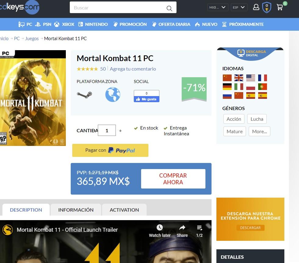 Cdkeys: Mortal Kombat 11 Para PC
