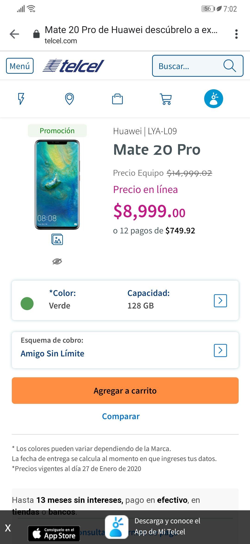 Telcel en línea: Huawei Mate 20 Pro