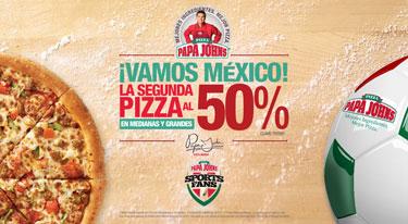 Papa John's: 50% en la segunda pizza cuando juegue México (DF)