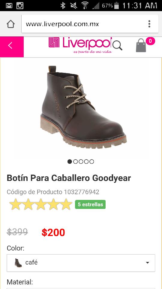 Liverpool en línea: rebajas en varios modelos de calzado, ejemplos: Botin para caballero Goodyear a $200, Zapato JBE a $150