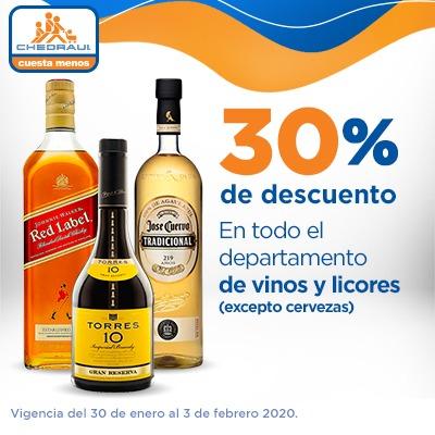 Chedraui: 30% descuento vinos y licores