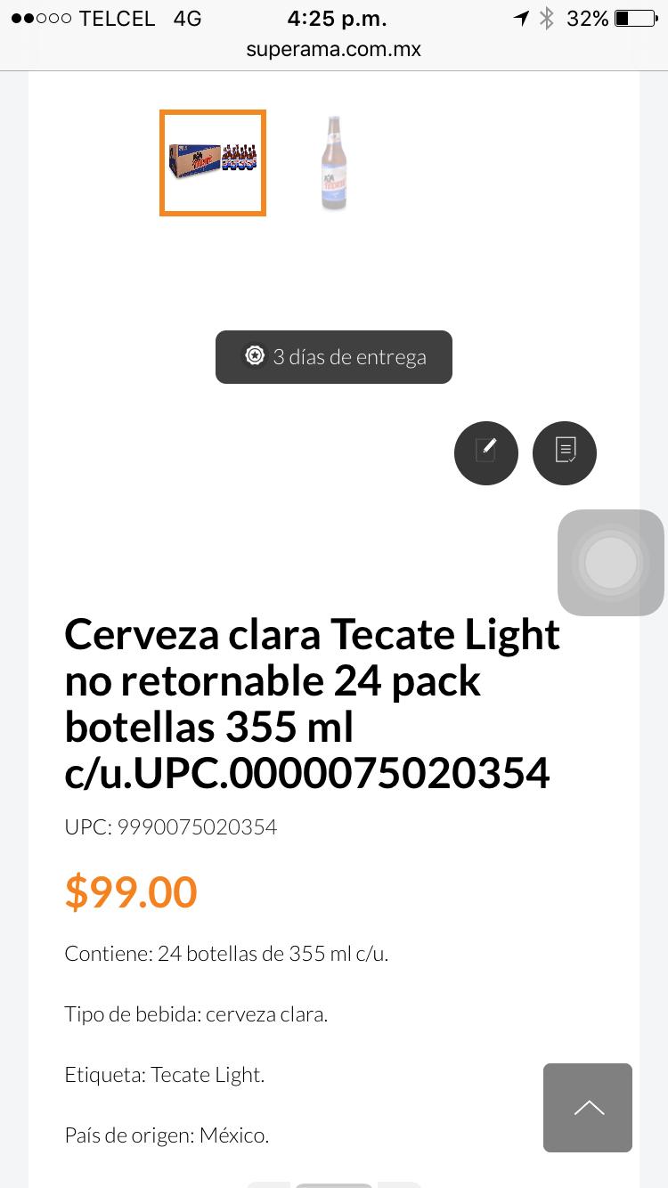 Superama en línea: Tecate Light 24 piezas $99