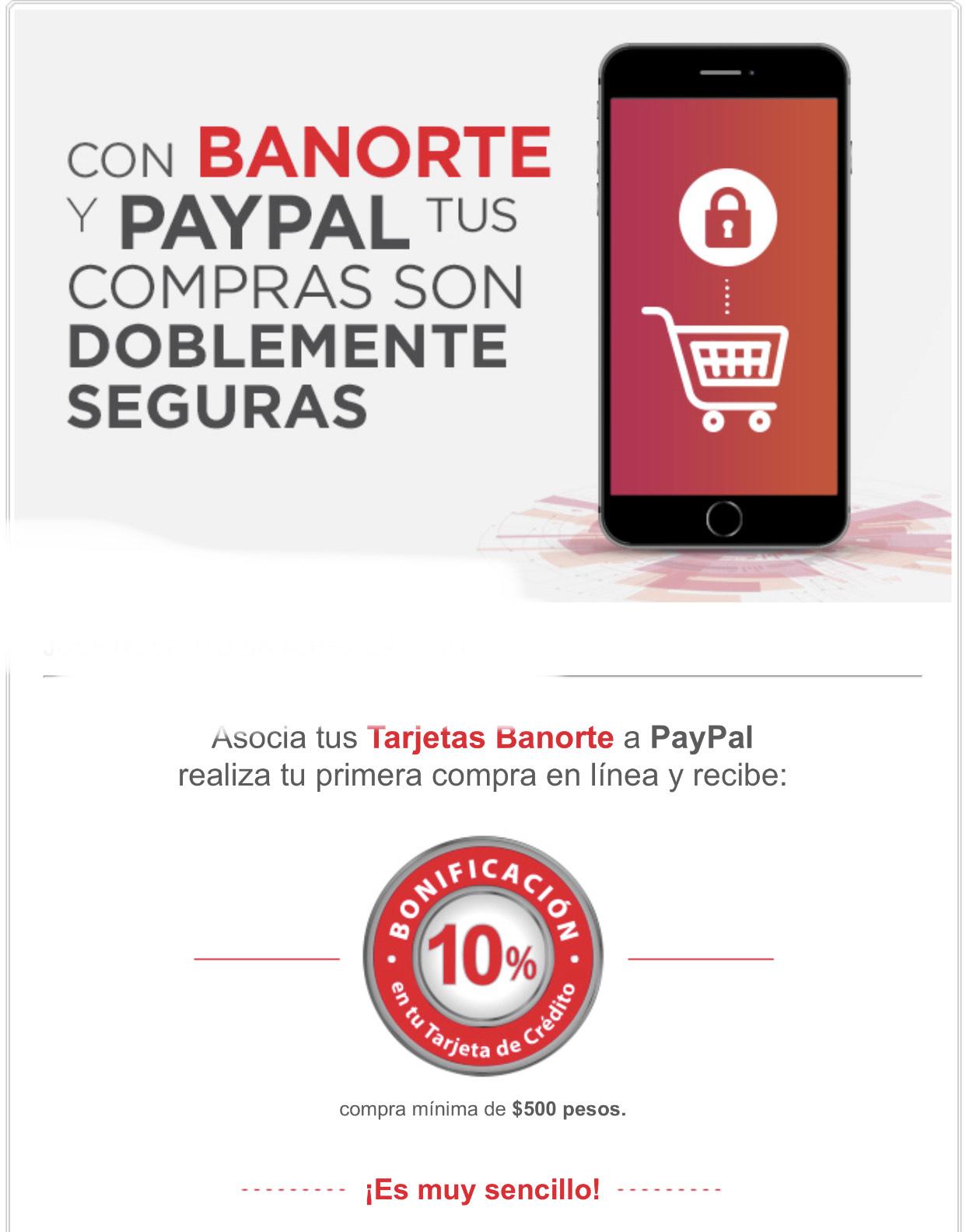 Banorte: 10% Bonificación al asociar con PayPal