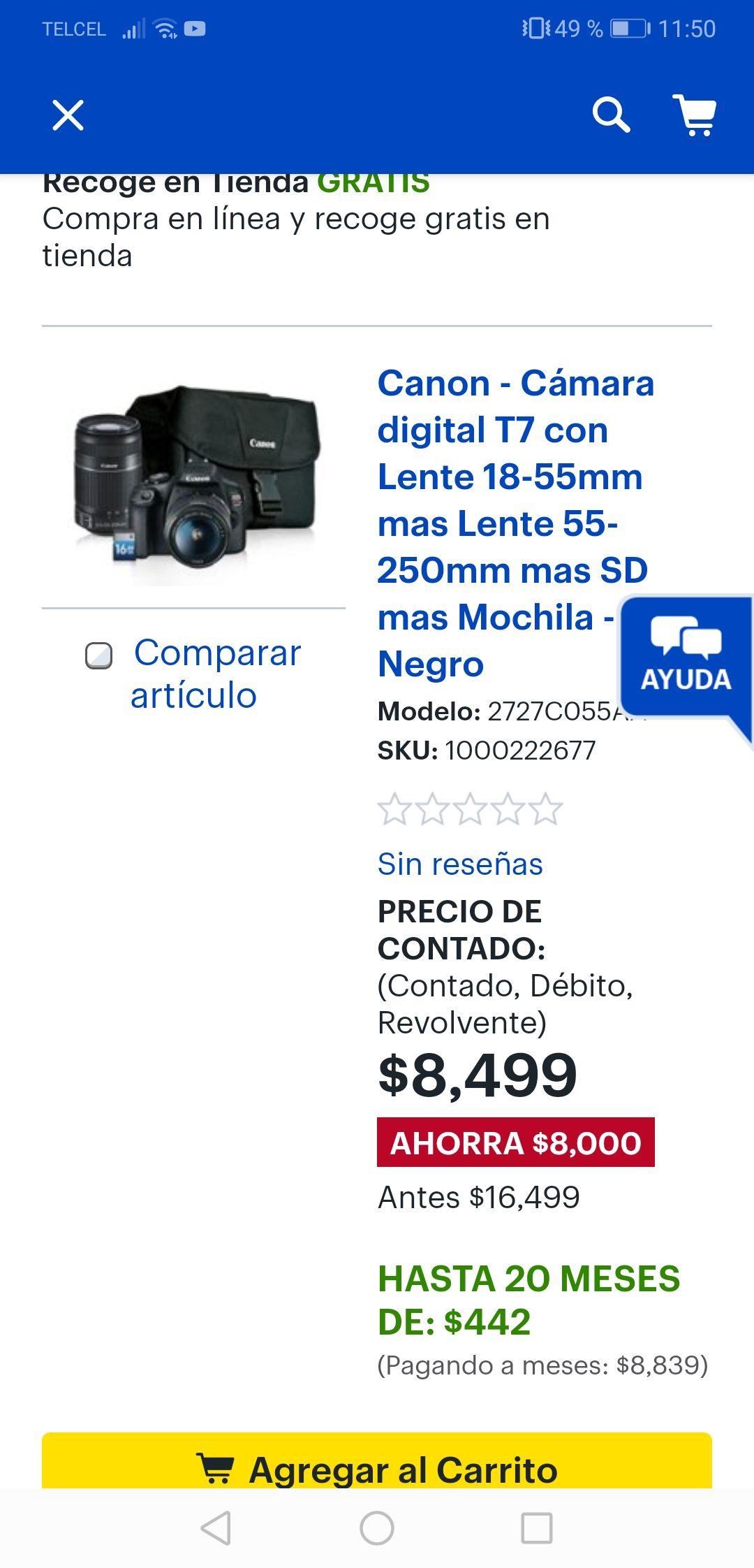 Best Buy: Kit Cámara t7 canon mejor precio! Y hasta 20 meses sin intereses