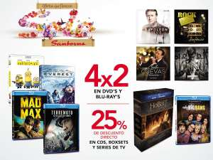 Sanborns: 4X2 en DVD y Bluray, 25% descuento directo en CD's, Boxsets y series de TV