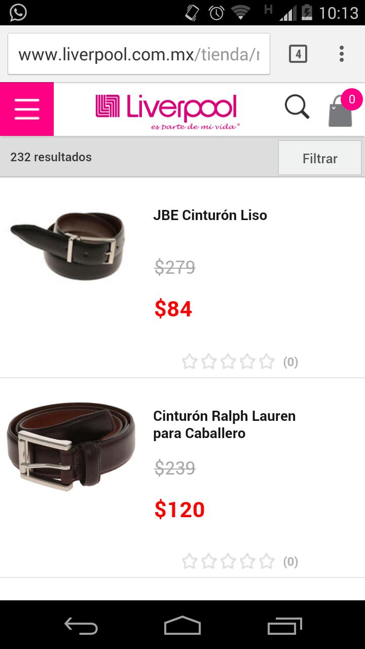 Liverpool en línea: cinturones para caballero desde $84