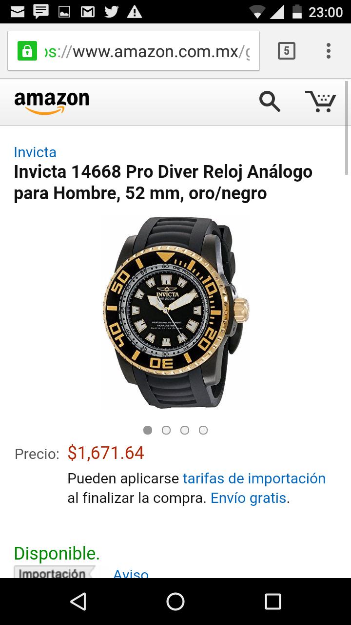 Amazon: invicta 14668 con baño de oro de 18k en $1,662