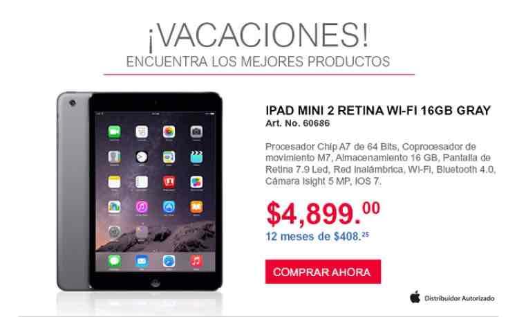 Office Depot en línea: iPad Mini 2 Retina a $4,899 y 12 meses