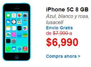 Walmart: iPhone 5C 8GB $6,990 y meses sin intereses + cupón con PayPal