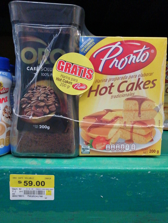 Bodega Aurrera: Café Oro soluble + Harina Pronto para hot cakes gratis